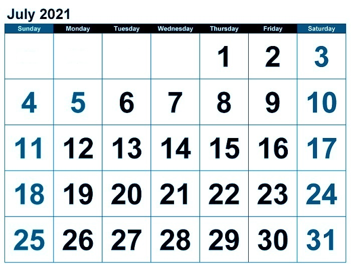 July 2021 Important Days